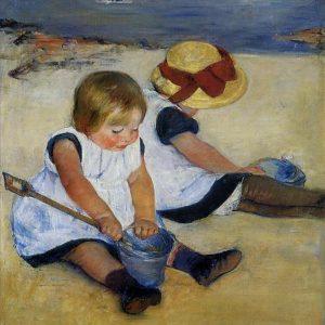 Children on Beach- after Mary Cassatt